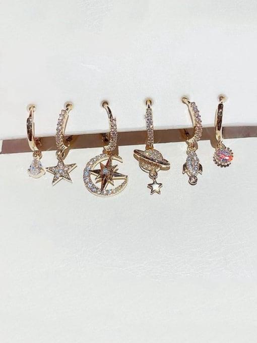 Ming Brass Rhinestone Irregular Minimalist Huggie Earring
