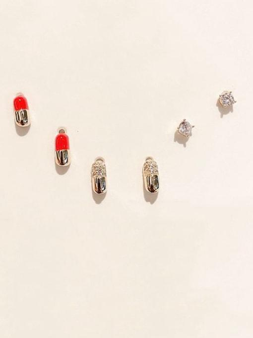 Ming Brass Cubic Zirconia Geometric Cute Stud Earring 1