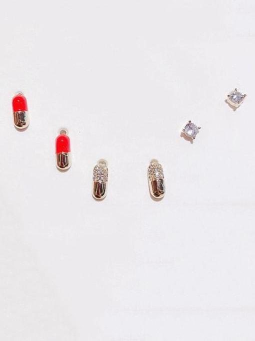 Ming Brass Cubic Zirconia Geometric Cute Stud Earring 0