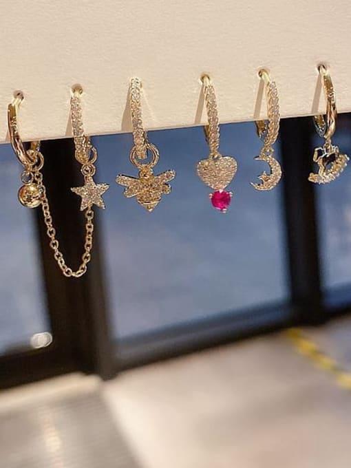 Ming Brass Cubic Zirconia Heart Minimalist Huggie Earring 2