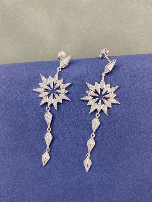 LM 925 Sterling Silver Cubic Zirconia Drop Earring 0
