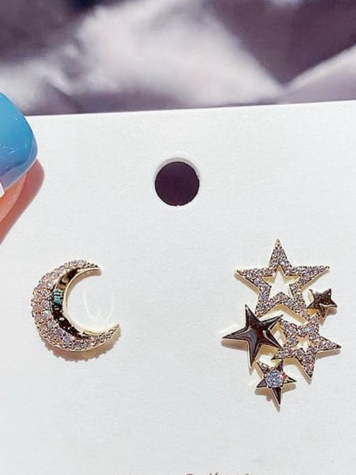 Ming Brass Cubic Zirconia Star Cute Stud Earring 1
