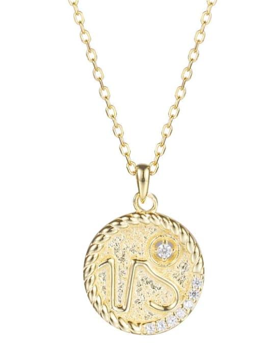 Ya0084 Capricorn 925 Sterling Silver Rhinestone  Minimalist  Constellation Pendant Necklace