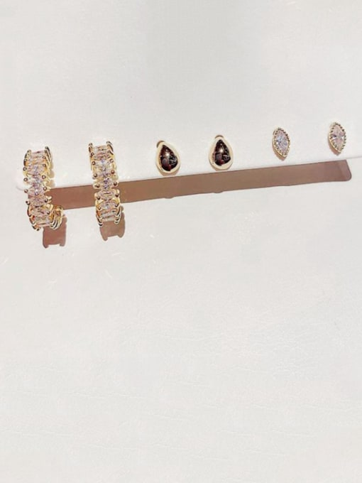 Ming Brass Cubic Zirconia Geometric Minimalist Stud Earring