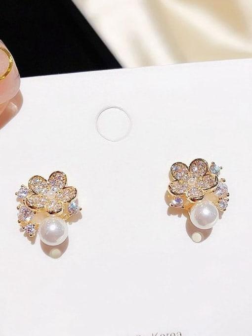 Ming Brass Cubic Zirconia Flower Dainty Stud Earring 2