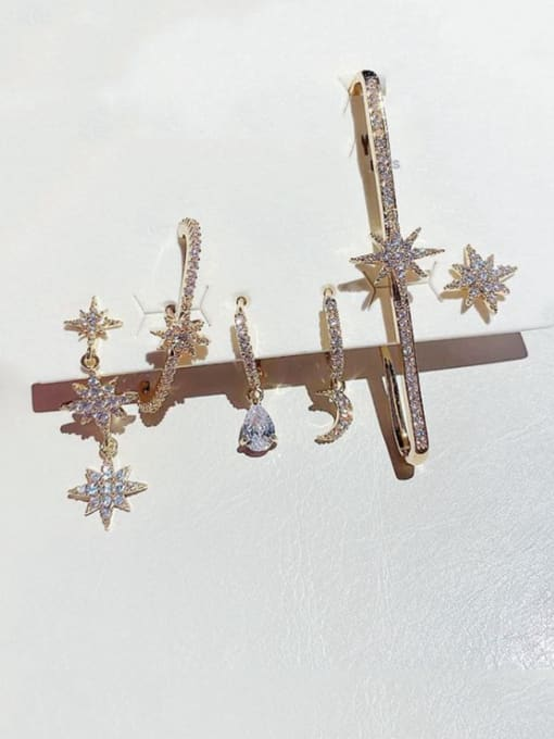 Ming Brass Cubic Zirconia Geometric Dainty Huggie Earring 1