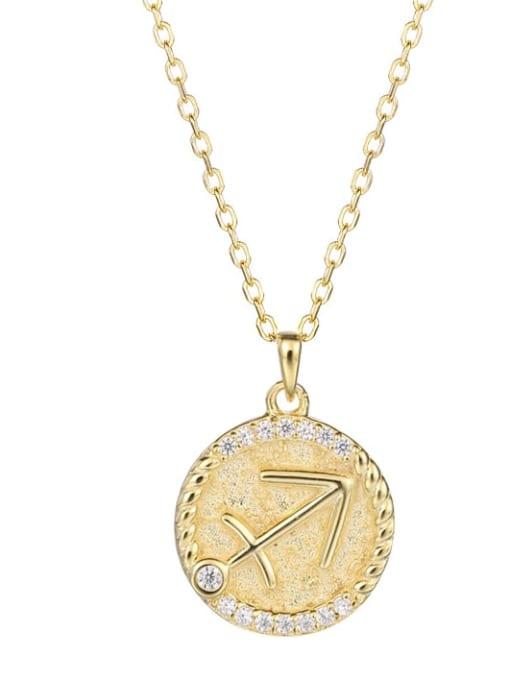 Ya0084 Sagittarius 925 Sterling Silver Rhinestone  Minimalist  Constellation Pendant Necklace