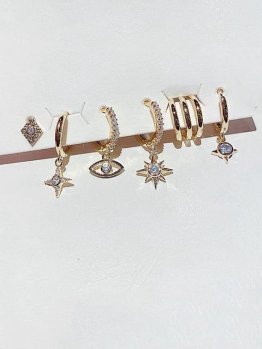 Ming Brass Rhinestone Star Cute Huggie Earring 1