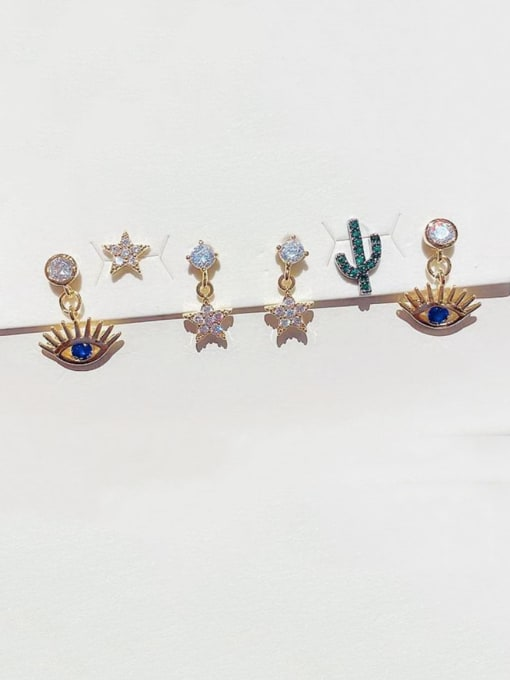 Ming Brass Rhinestone Evil Eye Minimalist Huggie Earring 1