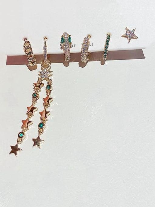 Ming Brass Cubic Zirconia Dainty Simple light luxury star tassel  Stud Earring 1