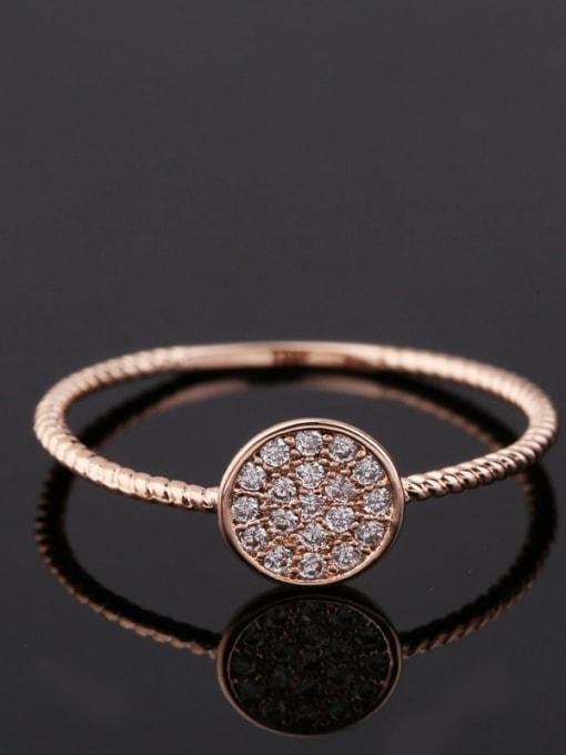 Ming Brass Cubic Zirconia Geometric Minimalist Band Ring 4