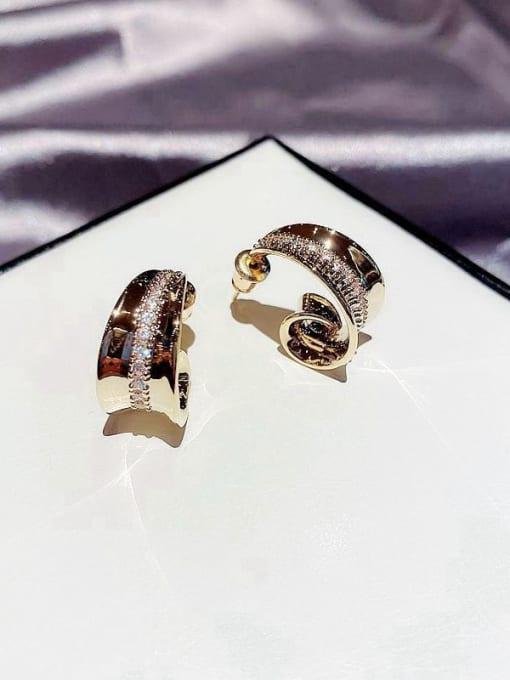 Ming Brass Cubic Zirconia Irregular Ethnic Stud Earring 2