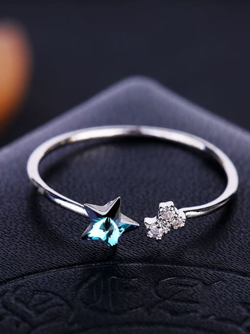 Ming Brass Cubic Zirconia Star Minimalist Band Ring 3