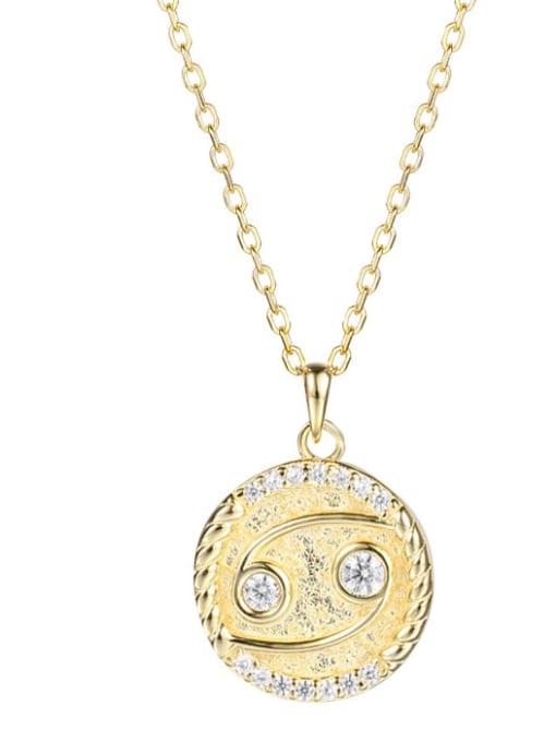 Ya0084 cancer 925 Sterling Silver Rhinestone  Minimalist  Constellation Pendant Necklace