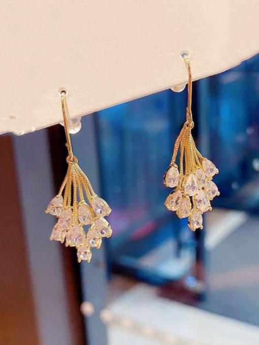 Ming Brass Cubic Zirconia Leaf Ethnic Hook Earring 1