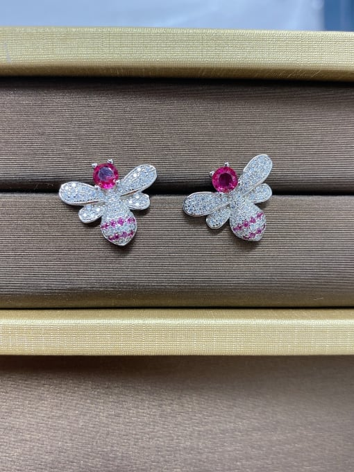 LM 925 Sterling Silver Purple Cluster Earring 2