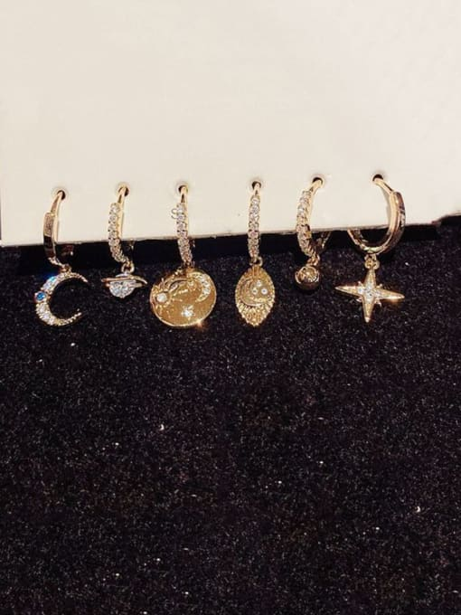 Ming Brass Rhinestone Star Ethnic Huggie Earring 1