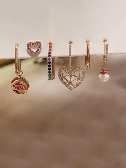 Ming Brass Rhinestone Heart Bohemia Huggie Earring