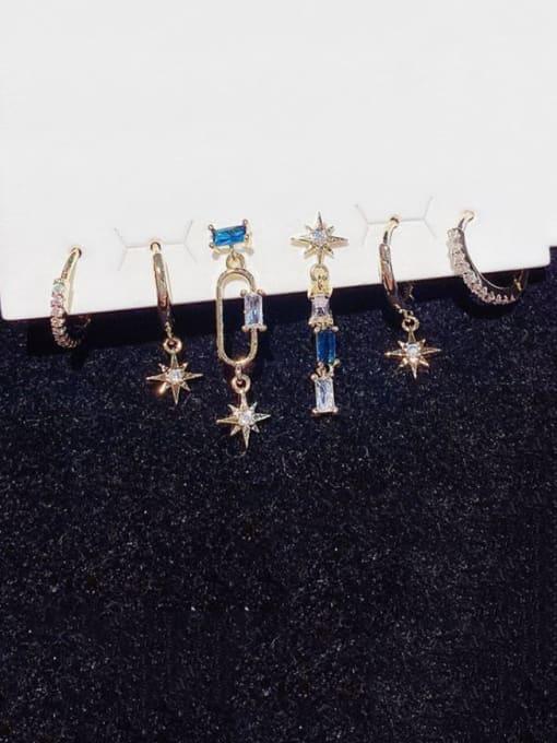 Ming Brass Cubic Zirconia Star Minimalist Huggie Earring 1