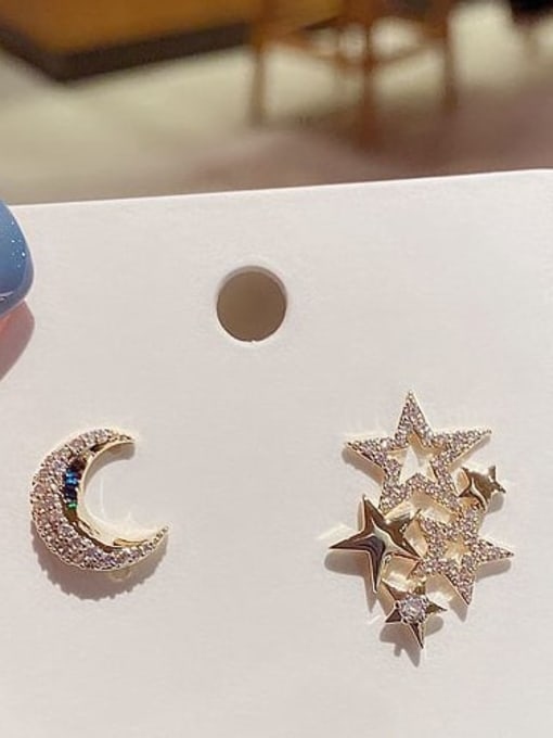 Ming Brass Cubic Zirconia Star Cute Stud Earring 2
