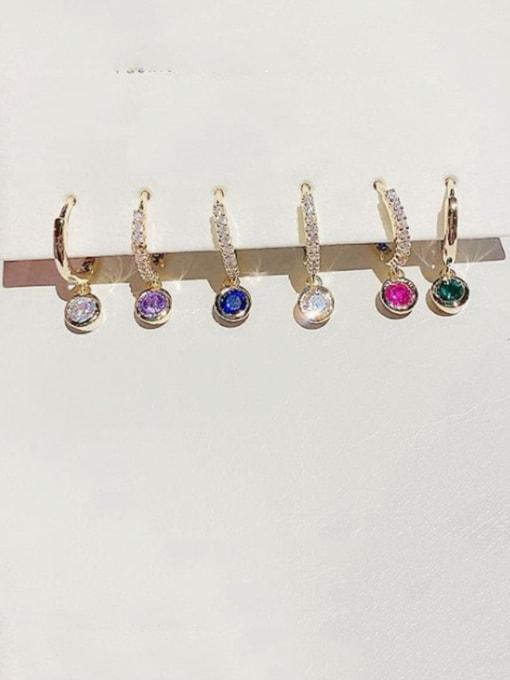 Ming Brass Cubic Zirconia Geometric Dainty Huggie Earring 0