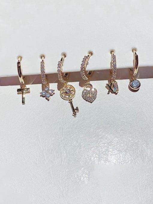 Ming Brass Cubic Zirconia Irregular Minimalist Huggie Earring