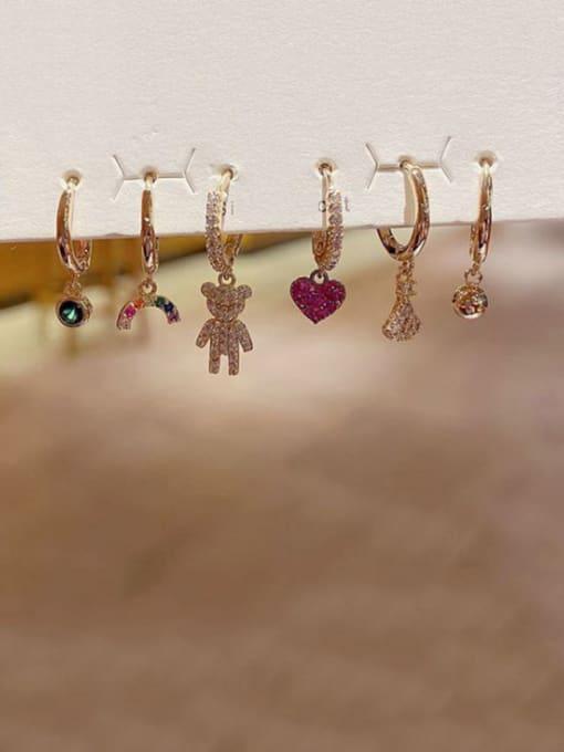 Ming Brass Cubic Zirconia Heart Cute Huggie Earring 1