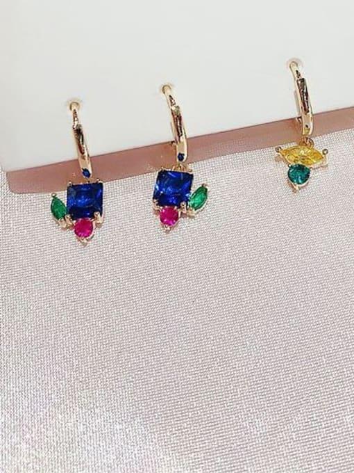 Ming Brass Cubic Zirconia Geometric Cute Huggie Earring 2