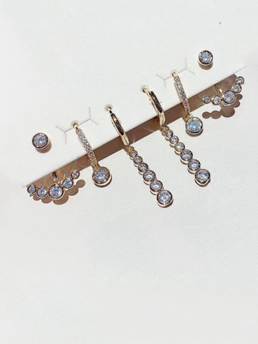 Ming Brass Rhinestone Geometric Dainty Huggie Earring 0