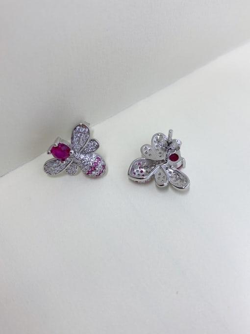 LM 925 Sterling Silver Purple Cluster Earring 1