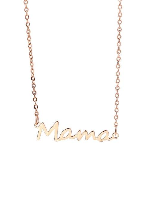 LM Titanium Steel Letter Mama Minimalist Necklace 2