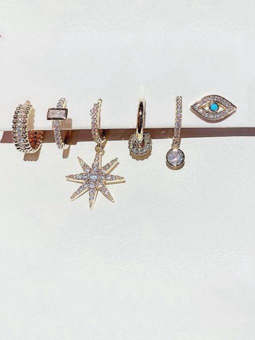 Ming Brass Rhinestone Irregular Minimalist Huggie Earring 0