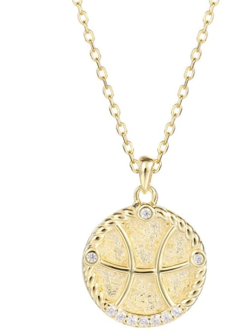 Ya0084 Pisces 925 Sterling Silver Rhinestone  Minimalist  Constellation Pendant Necklace
