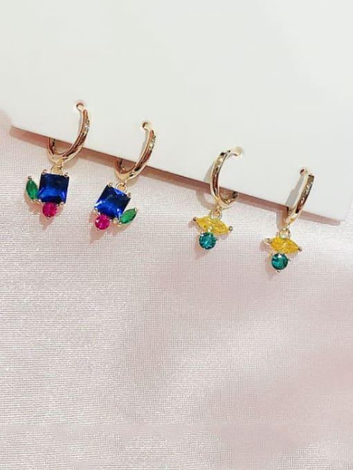 Ming Brass Cubic Zirconia Geometric Cute Huggie Earring