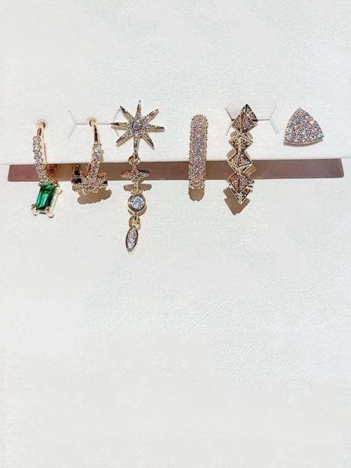 Ming Brass Cubic Zirconia Minimalist Geometric star  6 piece set Stud Earring