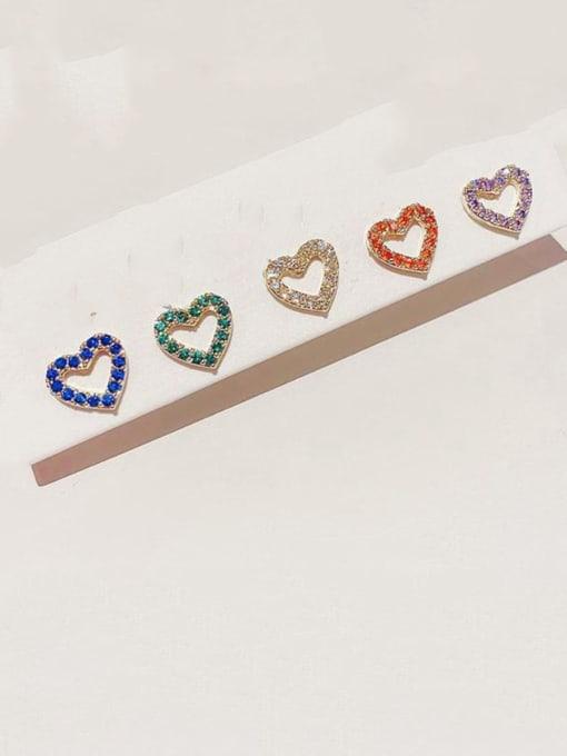Ming Brass Rhinestone Heart Minimalist Stud Earring 1