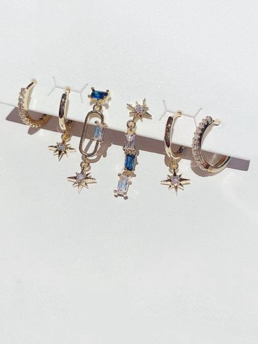 Ming Brass Cubic Zirconia Star Minimalist Huggie Earring