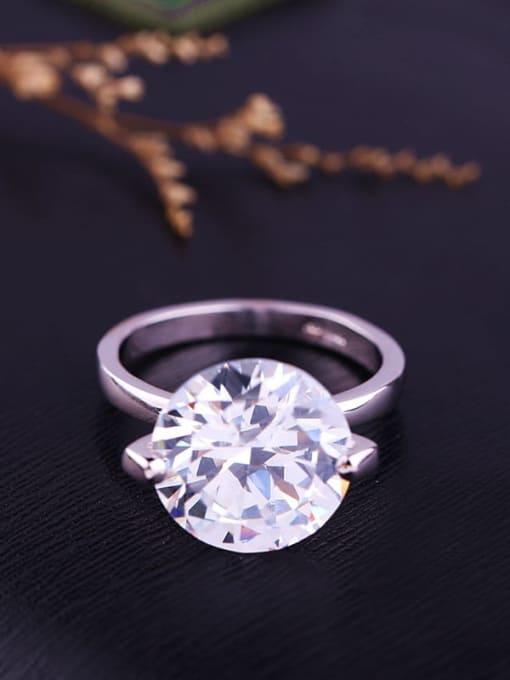 Platinum plated Brass Cubic Zirconia Geometric Minimalist Band Ring