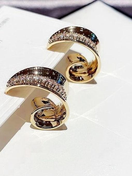 Ming Brass Cubic Zirconia Irregular Ethnic Stud Earring 3