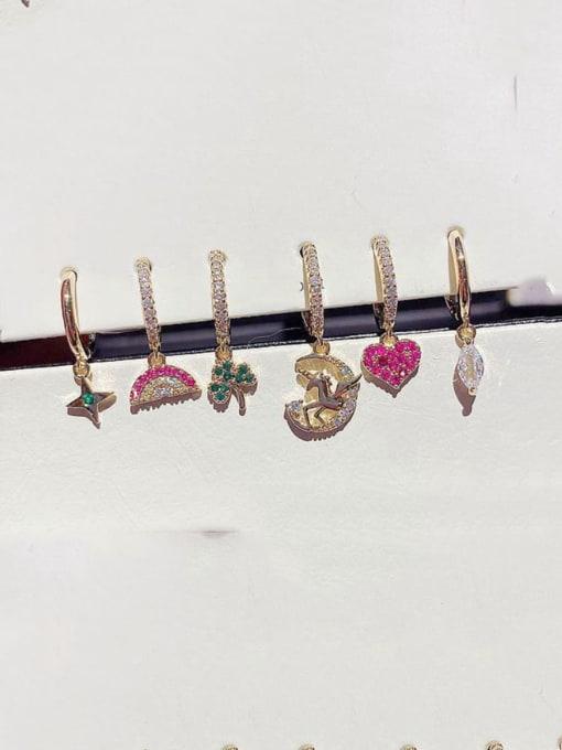Ming Brass Rhinestone Heart Minimalist Huggie Earring 0