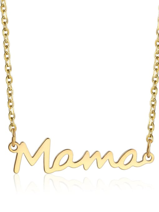 LM Titanium Steel Letter Mama Minimalist Necklace 0