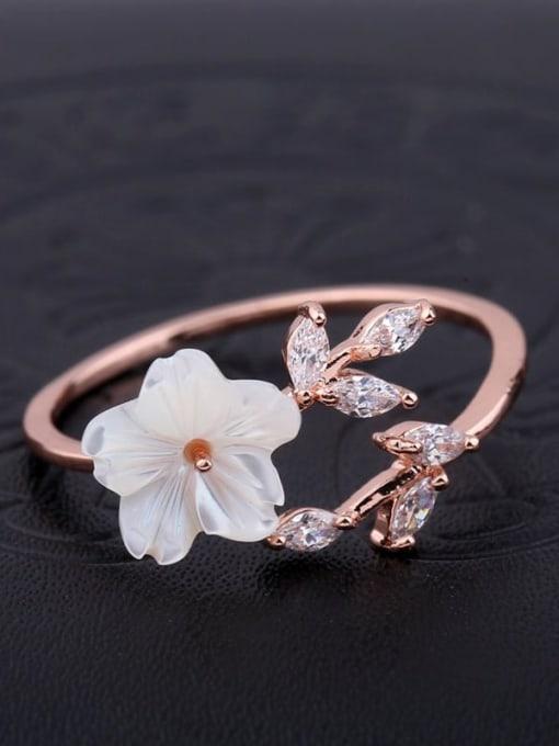 Ming Brass Resin Flower Minimalist Band Ring 2