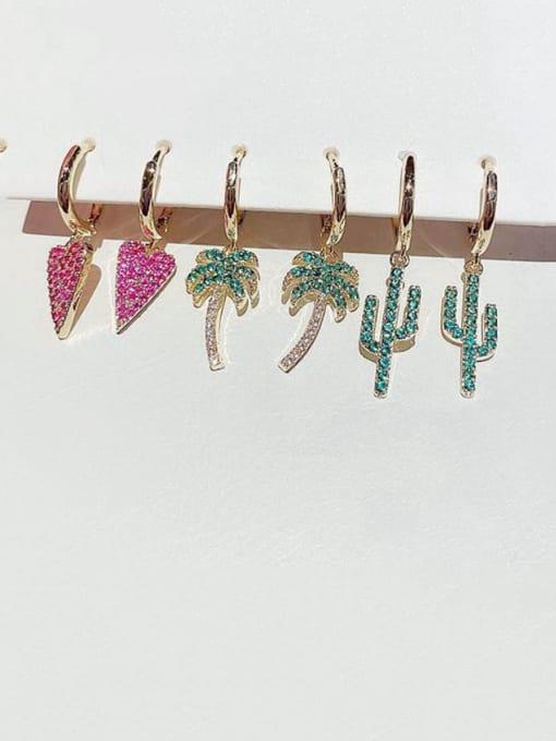 Ming Brass Cubic Zirconia Heart Cute  Leaf 3-piece set Drop Earring 0