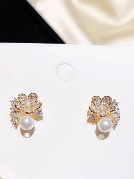 Ming Brass Cubic Zirconia Flower Dainty Stud Earring