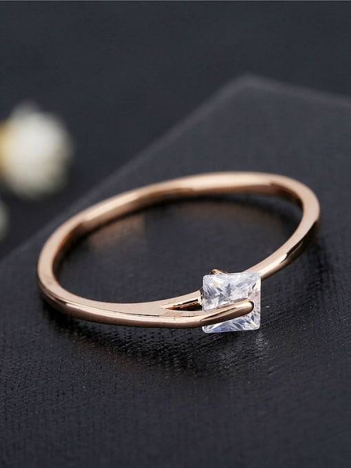 Ming Brass Cubic Zirconia Geometric Minimalist Band Ring