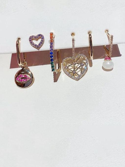 Ming Brass Rhinestone Heart Bohemia Huggie Earring 1