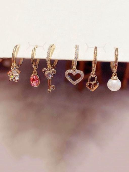 Ming Copper Cubic Zirconia Key Cute Huggie Earring 1