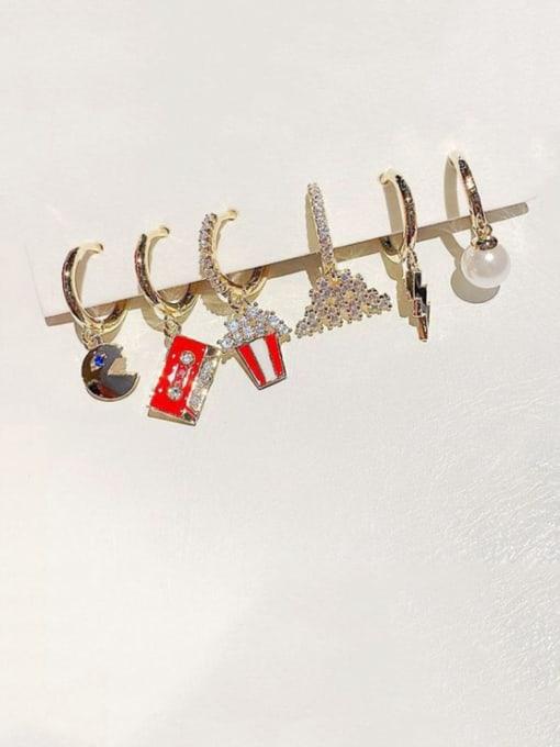 Ming Brass Cubic Zirconia Geometric Ethnic Huggie Earring