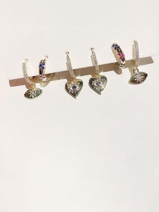 Ming Brass Cubic Zirconia Heart Minimalist Huggie Earring 1