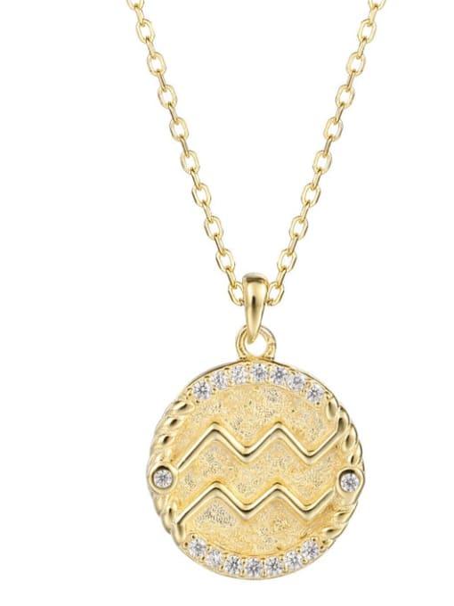 Ya0084 Aquarius 925 Sterling Silver Rhinestone  Minimalist  Constellation Pendant Necklace